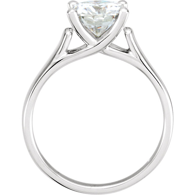 14KT White Gold 6.5mm Round Forever Classic Moissanite Solitaire Engagement Ring