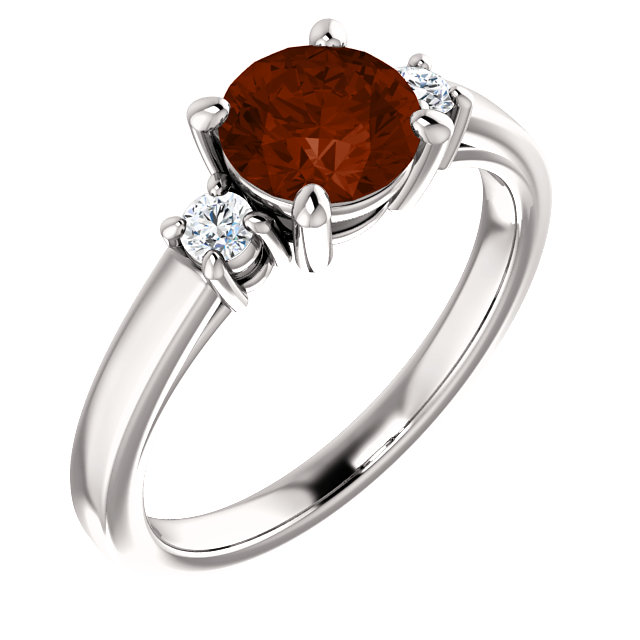 Perfect Jewelry Gift 14 Karat White Gold 6.5mm Round Mozambique Garnet & 0.12 Carat Total Weight Diamond Ring