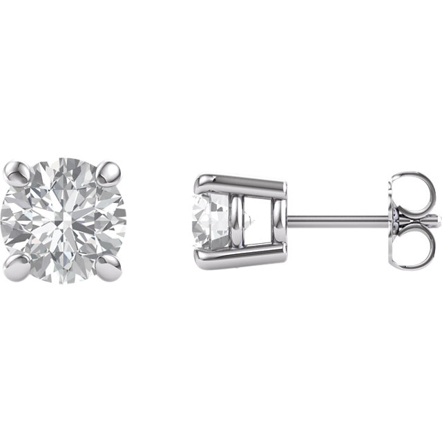 14KT White Gold 6.5mm RoundForever Brilliant Moissanite Earrings