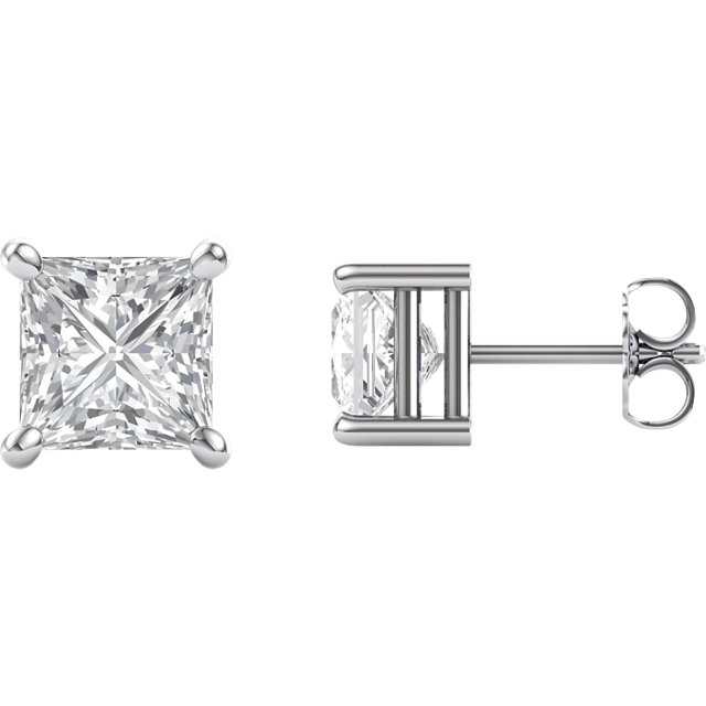 14KT White Gold 6.5mm Square Forever Brilliant Moissanite Earrings