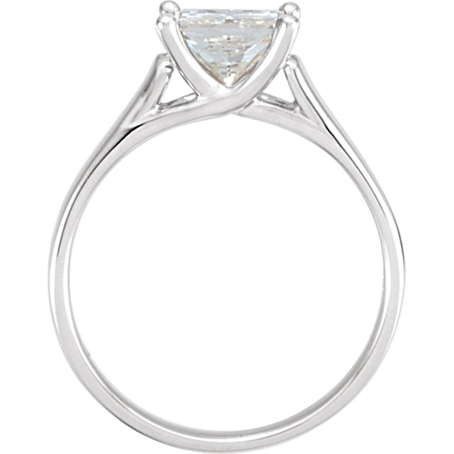 14KT White Gold 6.5mm Square Forever Brilliant Moissanite Solitaire Engagement Ring