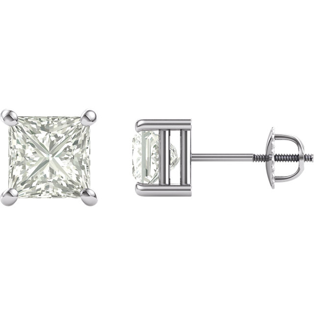 14KT White Gold 6.5mm Square Forever Classic Moissanite 4-Prong Stud Earrings