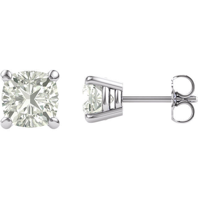 14KT White Gold 6mm Antique Square Forever Classic Moissanite 4-Prong Stud Earrings