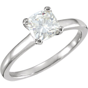 14KT White Gold 6mm Antique Square Forever Classic Moissanite Solitaire Engagement Ring