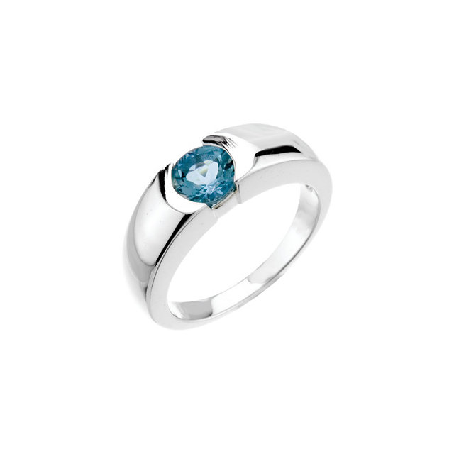 Eye Catchy 14 Karat White Gold 6mm Aquamarine Ring