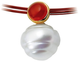 14KT White Gold 6mm Carnelian & 12mm South Sea Cultured Circle Pearl Pendant