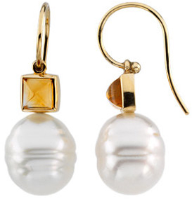 14KT White Gold 6mm Citrine Semi-set Earrings for Pearl