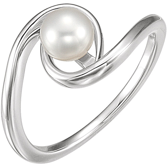 Great Gift in 14 Karat White Gold 6mm Freshwater Cultured Pearl Ring