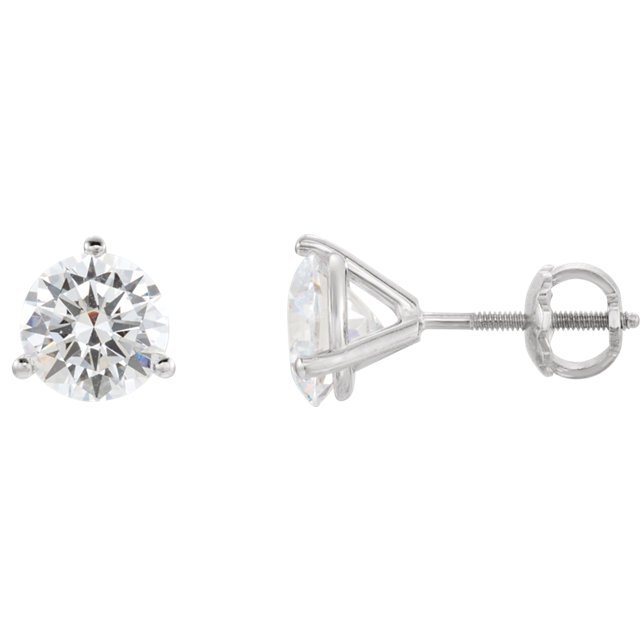 14KT White Gold 6mm Round 3-Prong Threaded Post Earring Mounting