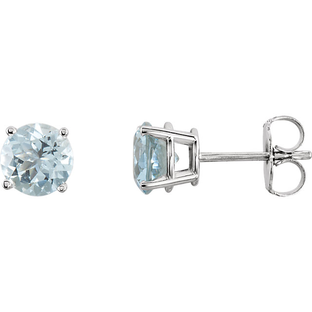 Great Deal in 14 Karat White Gold 6mm Round Aquamarine Earrings
