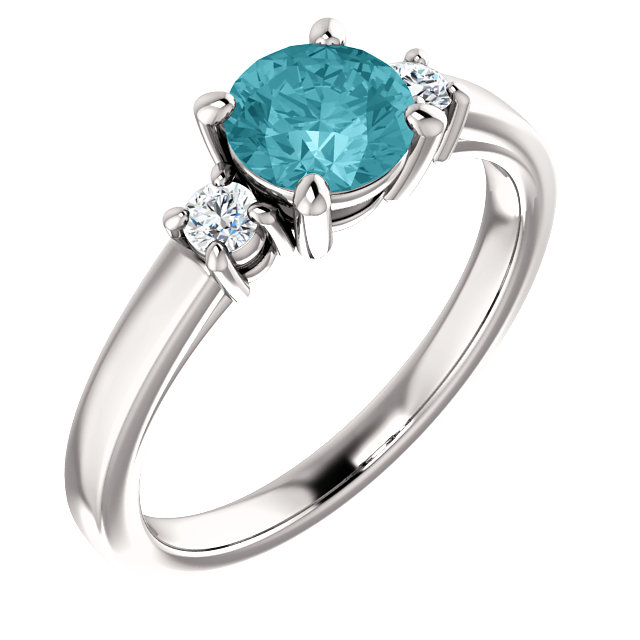 Easy Gift in 14 Karat White Gold 6mm Round Blue Zircon & 0.12 Carat Total Weight Diamond Ring