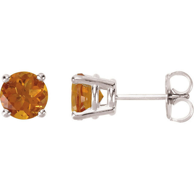 Surprise Her with  14 Karat White Gold 6mm Round Citrine FriCaration Post Stud Earrings