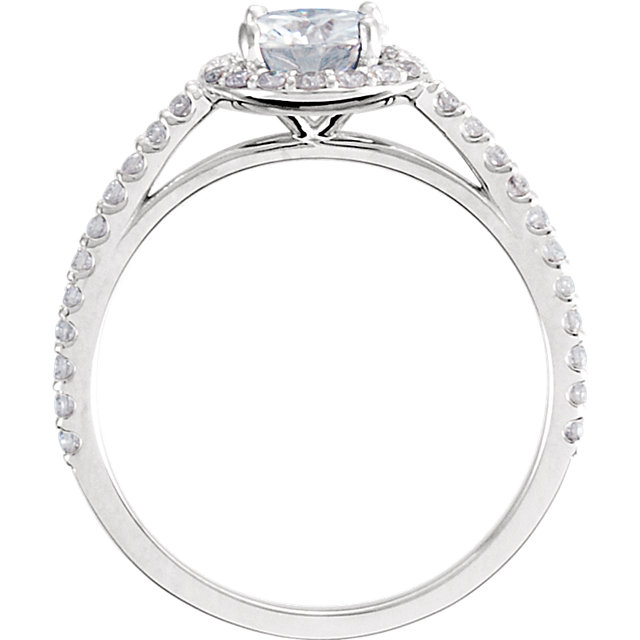 14KT White Gold 6mm Round Forever Brilliant Moissanite & 3/8 Carat Total Weight Diamond Engagement Ring