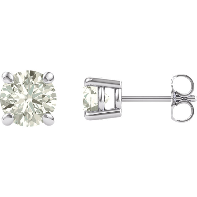 14KT White Gold 6mm Round Forever Brilliant Moissanite Earrings