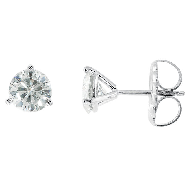 14KT White Gold 6mm Round Forever Classic Moissanite 3-Prong Stud Earrings