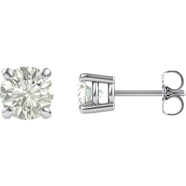 14KT White Gold 6mm Round Forever Classic Moissanite Earrings