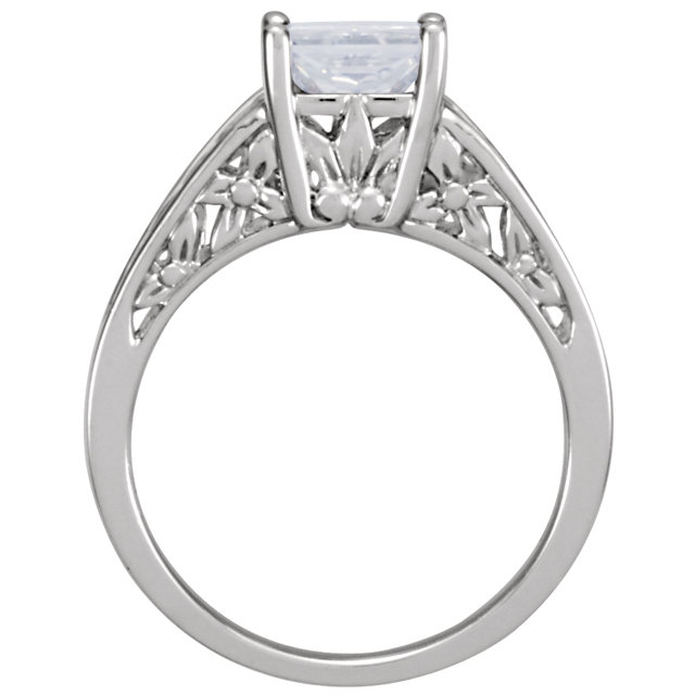14KT White Gold 6mm Round Forever Classic Moissanite Solitaire Engagement Ring