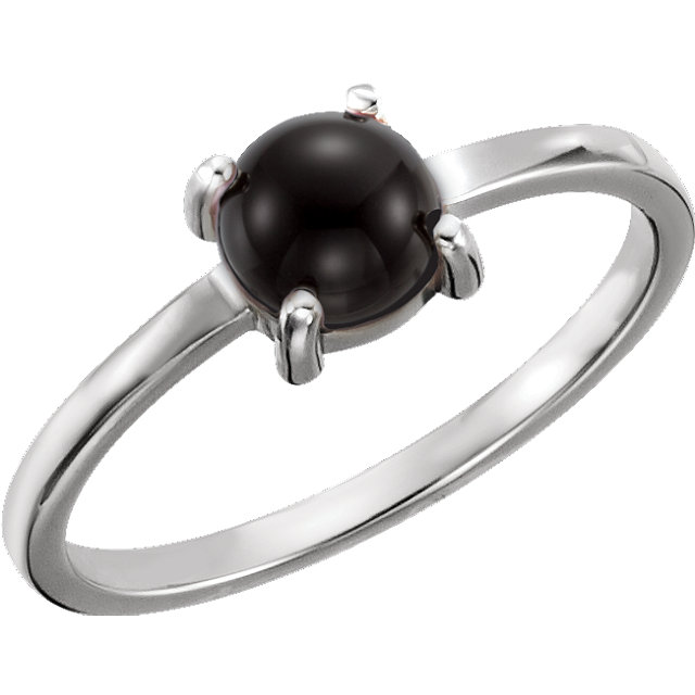 Gorgeous 14 Karat White Gold 6mm Round Onyx Cabochon Ring