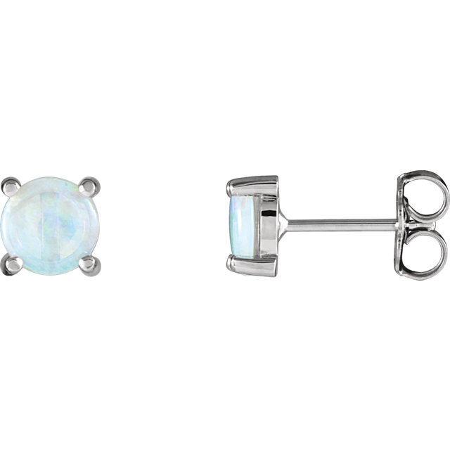 Appealing Jewelry in 14 Karat White Gold Opal Cabochon Earrings