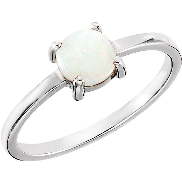 Must See 14 Karat White Gold 6mm Round Opal Cabochon Ring