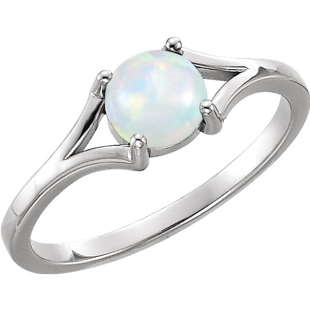 Low Price on 14 KT White Gold 6mm Round Opal Cabochon Ring