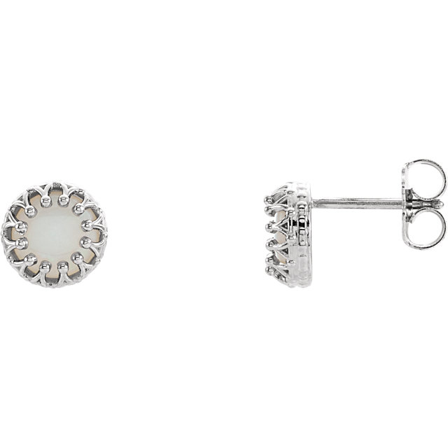 Chic 14 Karat White Gold 6mm Round Opal Earrings