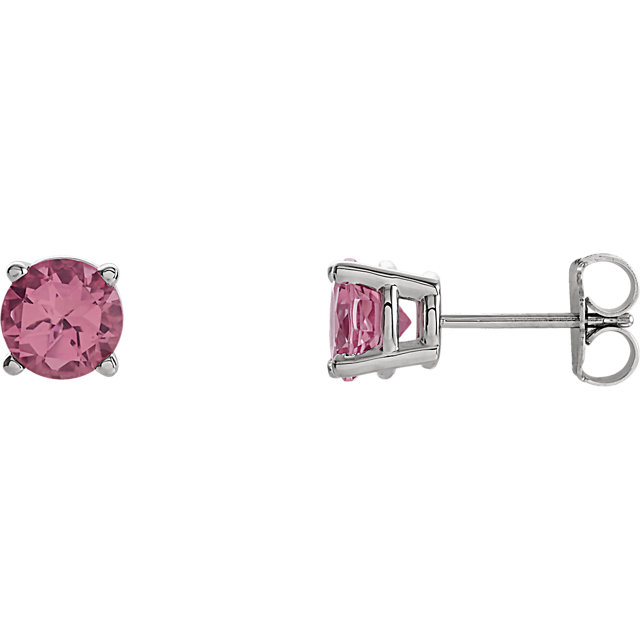 14 Karat White Gold 6mm Round Pink Tourmaline Post Stud Earrings