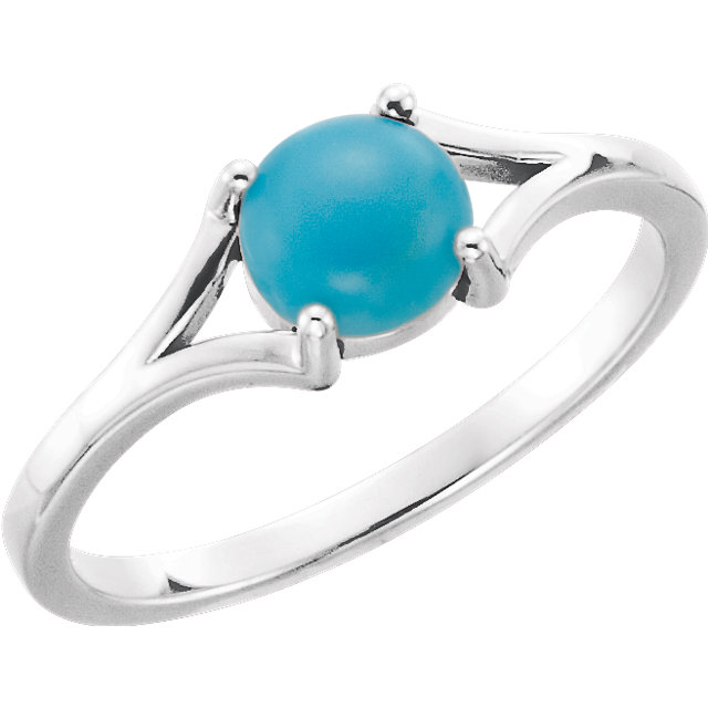 Easy Gift in 14 Karat White Gold 6mm Round Turquoise Cabochon Ring