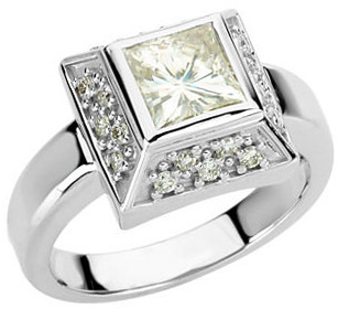 14KT White Gold 6mm Square Forever Classic Moissanite & 1/3 Carat Total Weight Diamond Ring