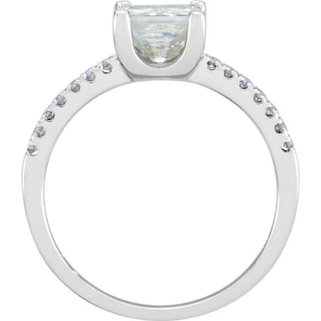 14KT White Gold 6mm Square Forever Classic Moissanite & 1/6 Carat Total Weight Diamond Ring