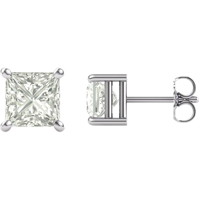 14KT White Gold 6mm Square Forever Classic Moissanite Earrings