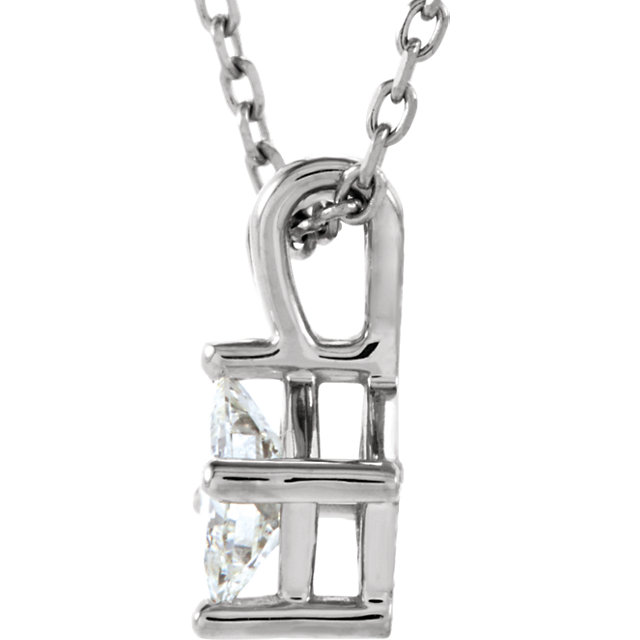 14KT White Gold 6mm Square Forever Classic Moissanite Pendant