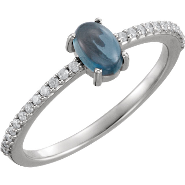 Gorgeous 14 Karat White Gold 6x4mm Cabochon Oval Genuine London Blue Topaz & 1/8 Carat Total Weight Diamond Ring