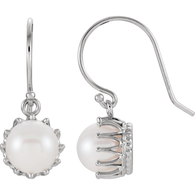 Gorgeous 14 Karat White Gold 7.5-8mm Freshwater Cultured Pearl Crown Earrings