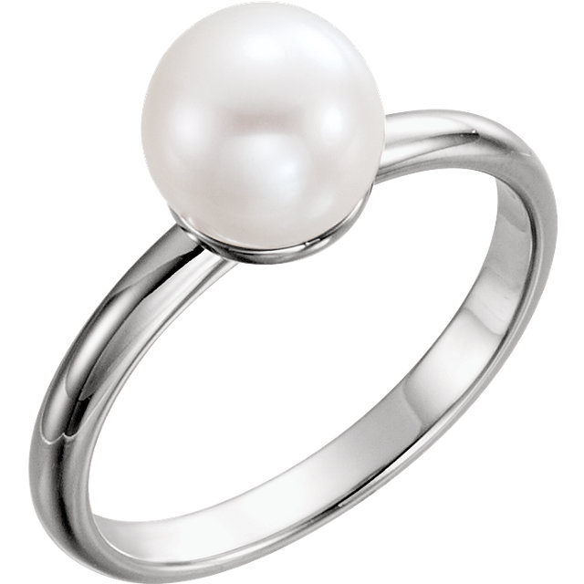 Must See 14 KT White Gold 7.5-8mm Freshwater Cultured Pearl Ring