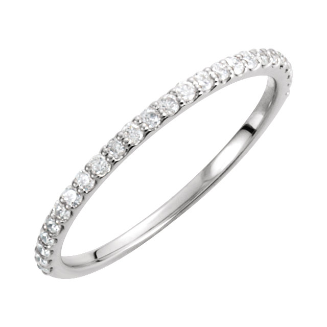 14KT White Gold 7.5mm Round Forever Brilliant Moissanite & 3/8 Carat Total Weight Diamond Engagement Ring