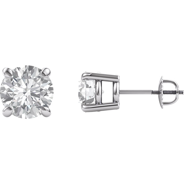 14KT White Gold 7.5mm Round Forever Brilliant Moissanite Earrings