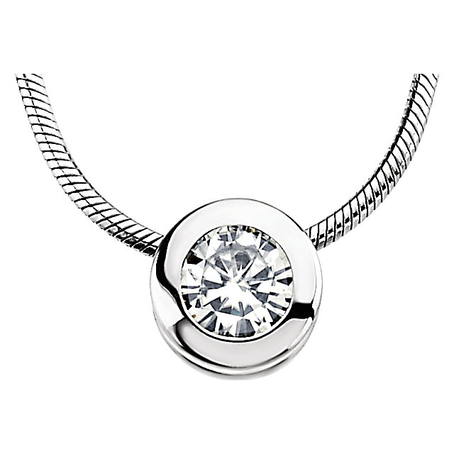 14KT White Gold 7.5mm Round Forever Classic Moissanite Bezel Set Pendant