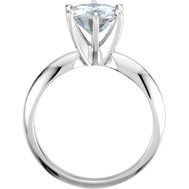 14KT White Gold 7.5mm Round Forever Classic Moissanite Solitaire Engagement Ring
