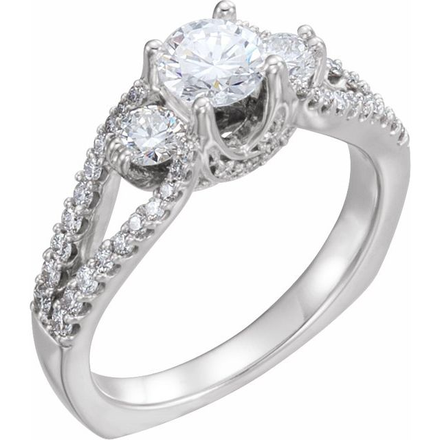 Diamond Ring in 14 Karat  Gold 7/8 Carat Diamond Engagement Ring