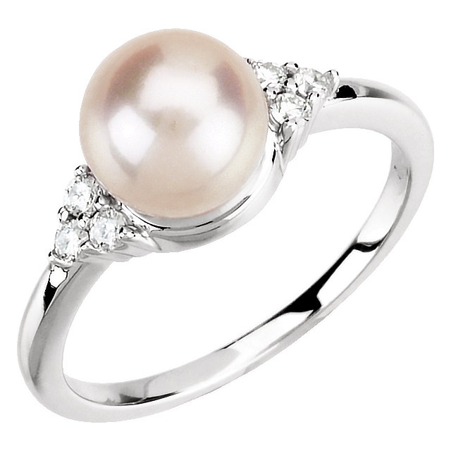 Magnificent 14 Karat White Gold 7.5-8mm Genuine Freshwater Cultured Pearl & 1/8 Carat Total Weight Diamond Ring