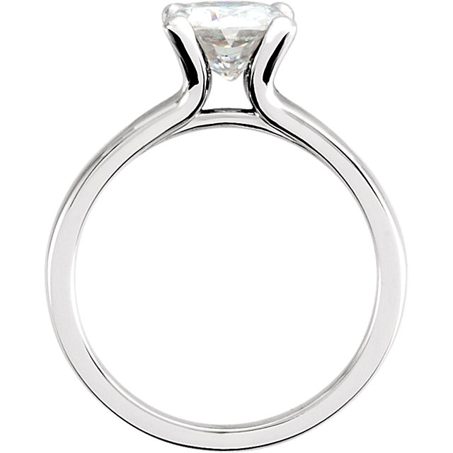 14KT White Gold 7mm Antique Square Forever Classic Moissanite Solitaire Engagement Ring