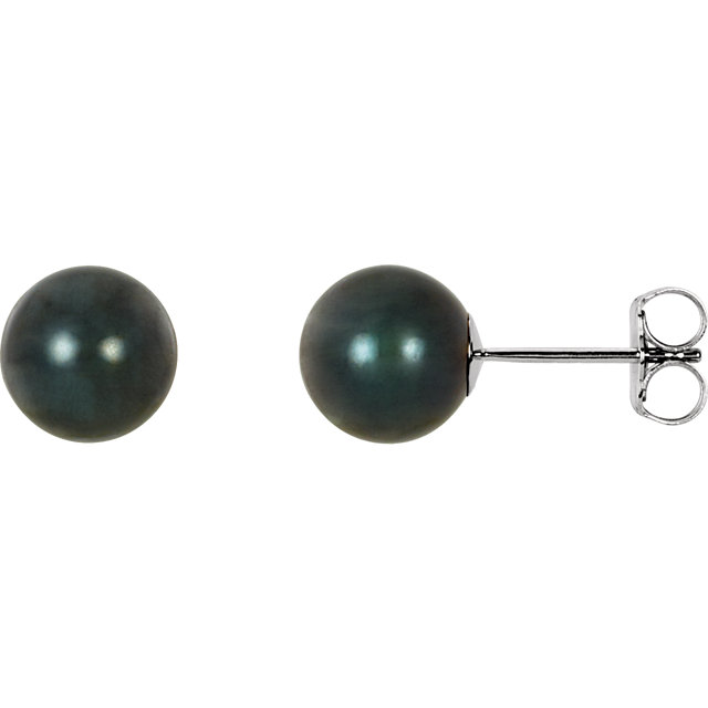 Perfect Gift Idea in 14 Karat White Gold 7mm Black Akoya Cultured Pearl Earrings