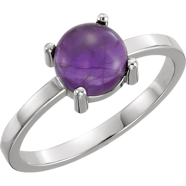 14 KT White Gold 7mm Round Amethyst Cabochon Ring