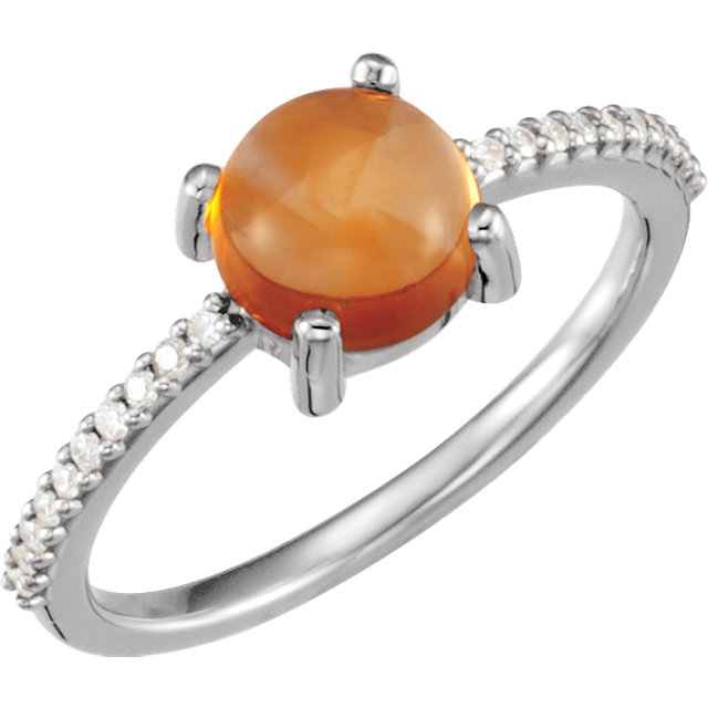 Easy Gift in 14 Karat White Gold 7mm Round Cabochon Citrine & 0.10 Carat Total Weight Diamond Ring
