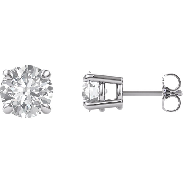 14KT White Gold 7mm Round Forever Brilliant Moissanite Earrings