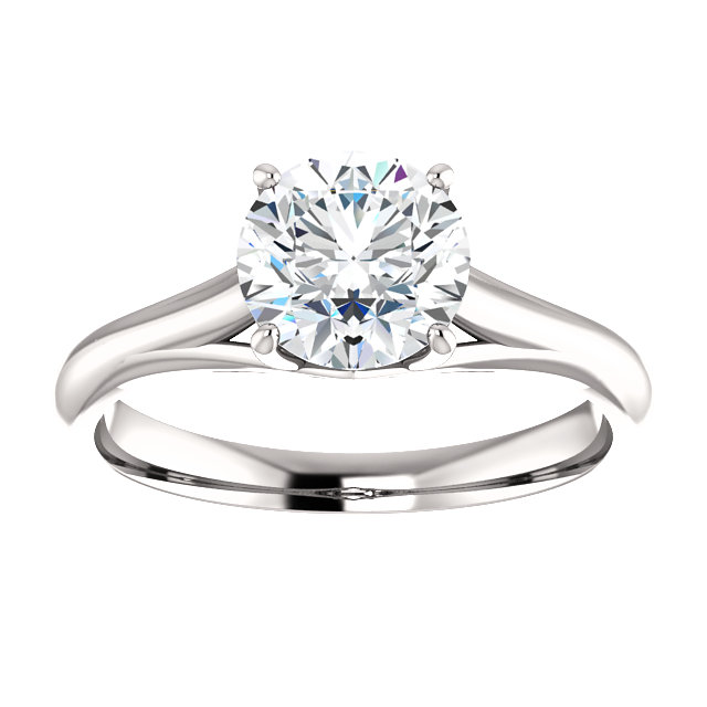 14KT White Gold 7mm Round Forever Brilliant Moissanite Solitaire Engagement Ring