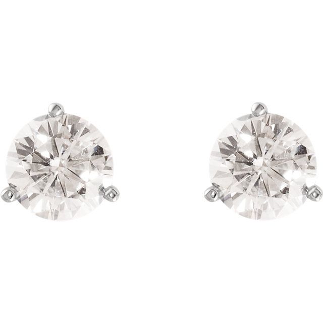 14KT White Gold 7mm Round Forever Classic Moissanite 3-Prong Stud Earrings
