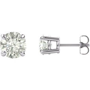 14KT White Gold 7mm Round Forever Classic Moissanite Earrings