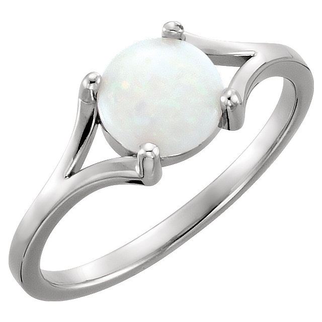 Low Price on 14 KT White Gold 7mm Round Opal Cabochon Ring